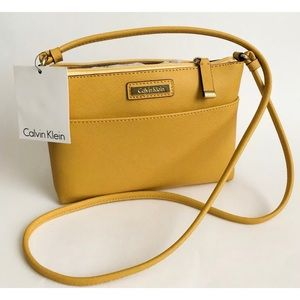 Calvin Klein yellow Saffiano mini crossbody bag